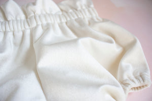 Pearl White Velvet Bloomers for Babies and Toddlers