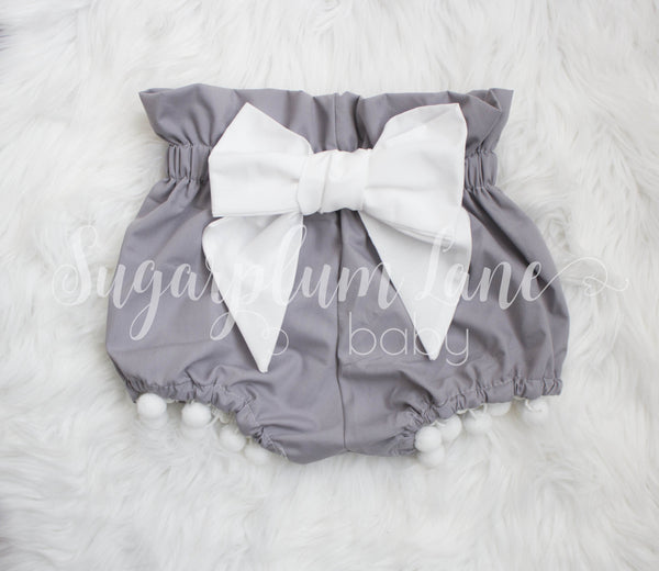 Grey Pom Bow Bloomers