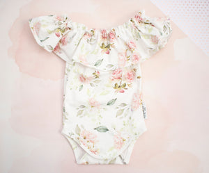 Sweet Roses Ruffled Off the Shoulder Leotard