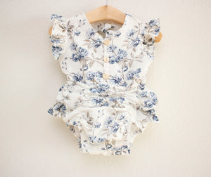 Blue Rose Linen Romper ©