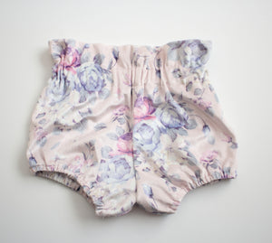 Lilac Flower Velvet High Waist Bloomers