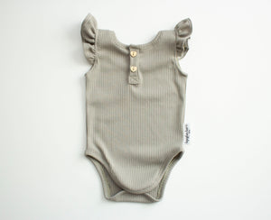 Soft Sage Ribbed Flutter Sleeve Leotard