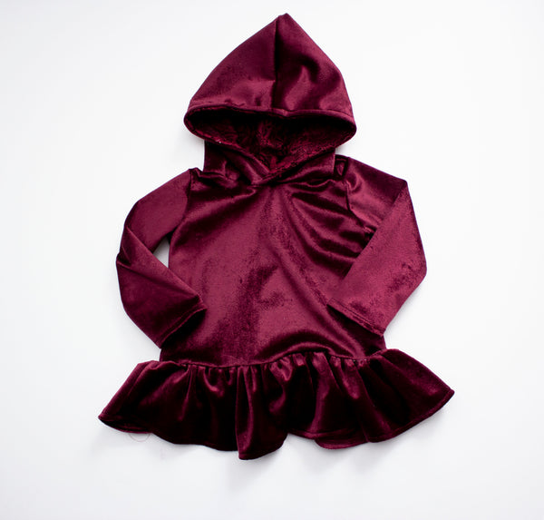 Burgundy Lace Hooded Peplum ©