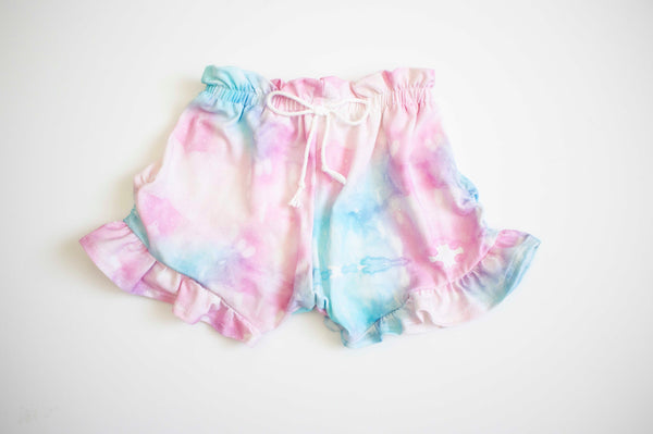 Tie Dye High Waist Ruffled Shorts