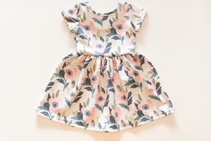 Blush and Navy Flower Twirl Dress