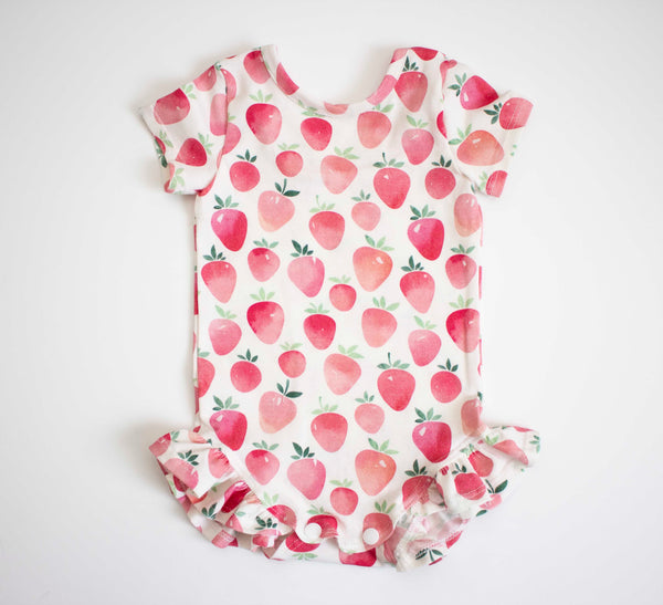 Strawberry Ruffled Onesie