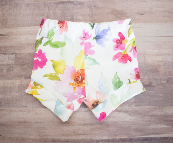 Light Flower Watercolor Shorts