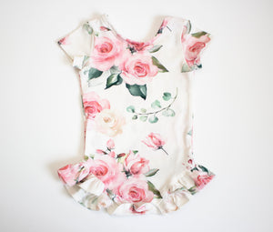 Pink Rose Ruffled Onesie