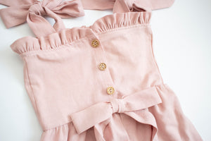Dusty Rose Flower Button Romper ©
