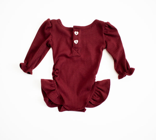 Ribbed Knit Leotard-Deep Red ©