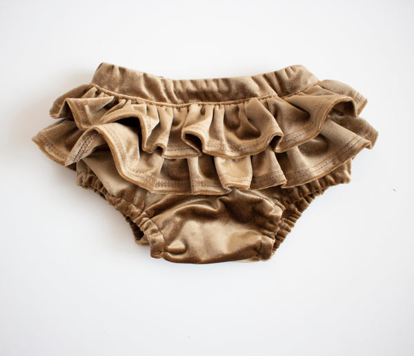 Brown Honey Velvet Ruffle Bloomers