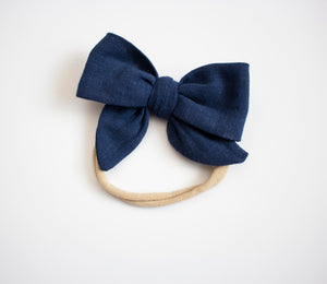 Blue Raspberry Linen Bow