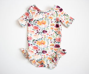 Autumn Flower Ruffled Onesie