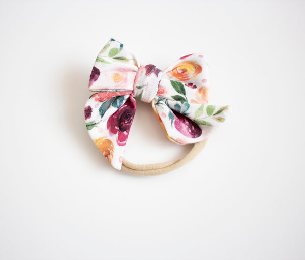 Autumn Flower Knit Bow