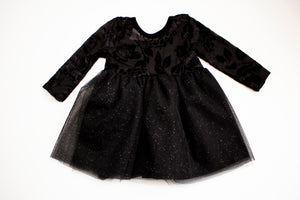 Black Rose Stretchy Sparkle Twirl Dress ©