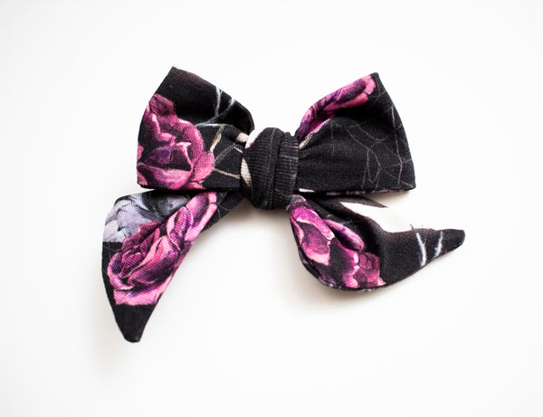 Purple Halloween Rose Bow