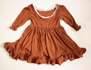 Cinnamon Spice Ruffled Twirl Dress ©