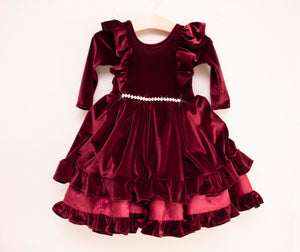 Burgundy Velvet Ball Gown Dress