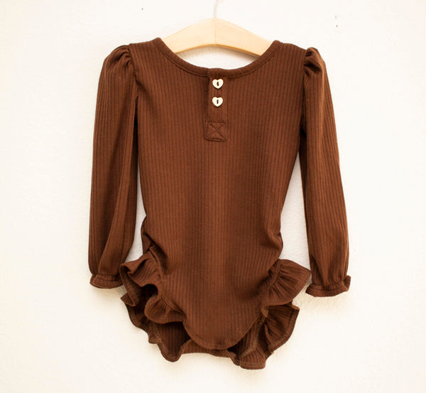 Ribbed Knit Leotard-Brown