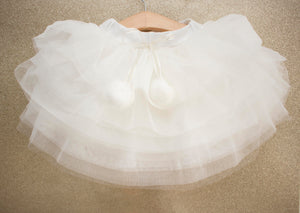 Off White Pom Pom Layered Tulle Skirt for Babies and Toddlers