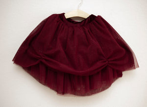 Burgundy Floor Length Tulle Skirt for Babies and Toddlers