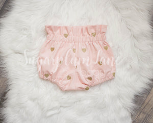 Pink Corduroy Sparkling Glitter Heart Bloomers