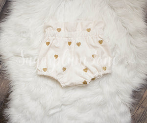 Ivory Corduroy Sparkling Glitter Heart Bloomers