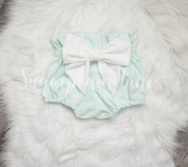 Mint Lace Bow Bloomers