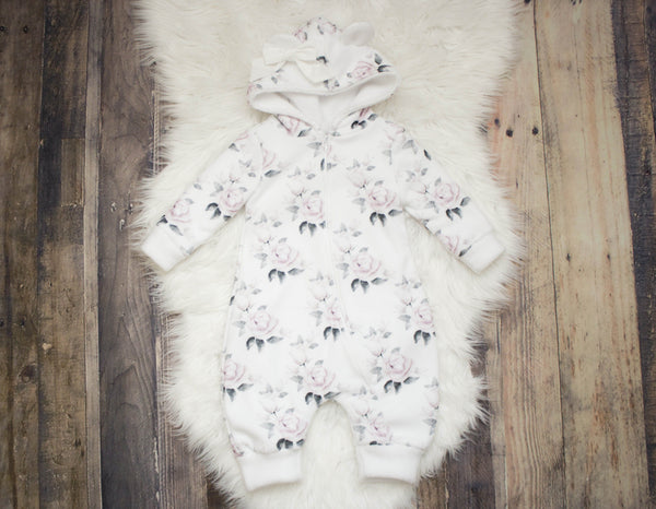 Winter Rose Double Layer Minky Fleece Romper