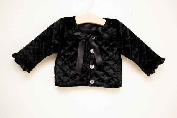 Black Velvet Quilted Coat