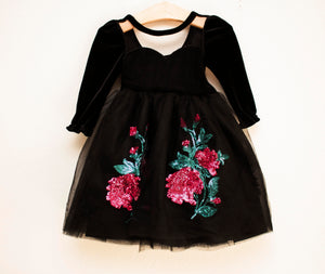 Black Rose Floor Length Dress