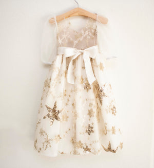 Off White Gold Sequin Star Floor Length Dress
