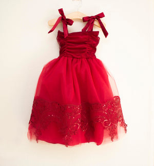 Red Sparkle Floor Length Dress