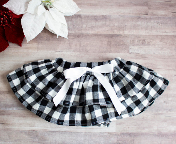 Black and White Buffalo Plaid Ruffled Skirt Bloomers