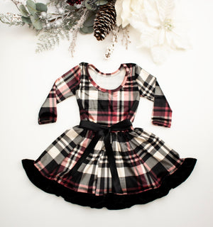 Plaid Velvet Twirl Dress ©