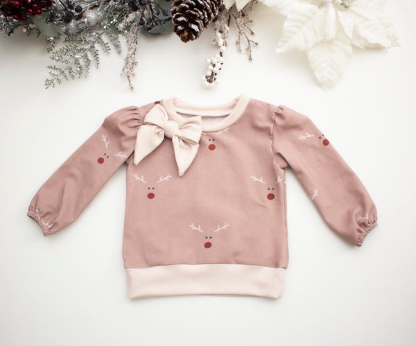 Reindeer Bow Long Sleeve