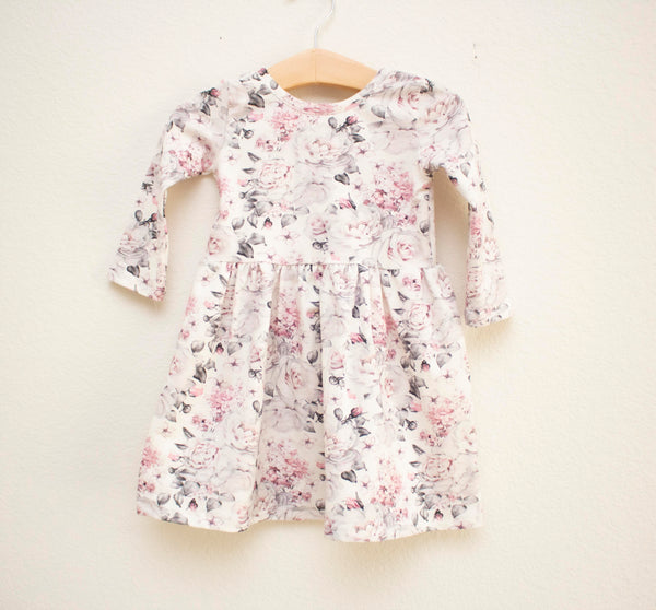 Grey and Pink Rose Twirl Dress