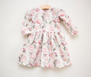 Green and Pink Rose Garden Twirl Dress