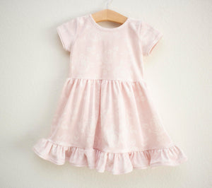 Soft Pink Rose Velvet Twirl Dress ©