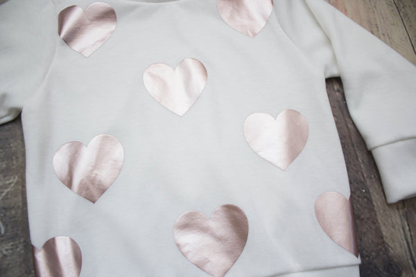 Metallic Rose Gold Heart Slouchy