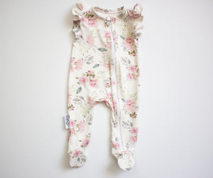 Sweet Roses Footed Zipper Onesie