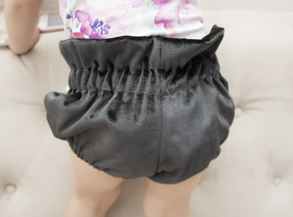 Deep Blue Velvet Bloomers for Babies and Toddlers