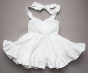 White Sweetheart Ruffled Twirl Dress