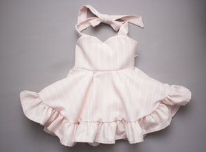 Pink Pinstripe Sweetheart Ruffled Twirl Dress