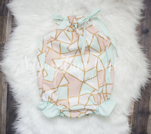 Mint, Peach, and Gold Geo Bubble Romper