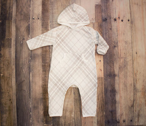 Modern Grey Plaid Full Length Hooded Pocket Romper