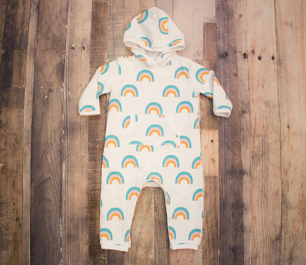 Rainbow Full Length Hooded Pocket Romper