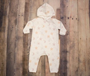 Moon and Stars Full Length Hooded Pocket Romper