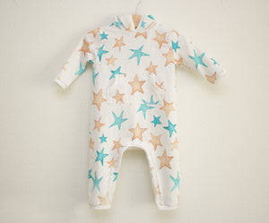 Gold and Teal Star Full Length Hooded Pocket Romper