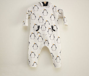 Penguin Full Length Hooded Pocket Romper